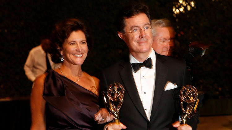 Stephen Colbert with his wife, Evelyn McGee-Colbert, after he won two Emmys in 2013