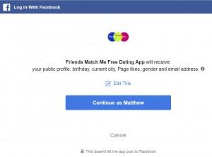 login with facebook option, friends match me